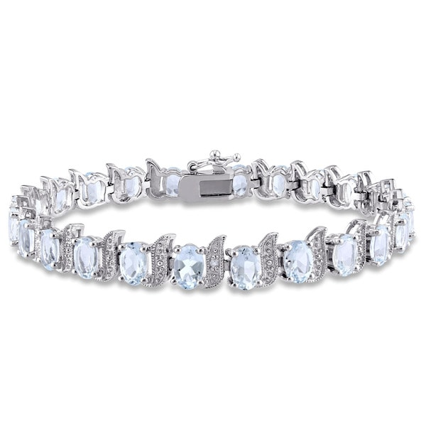 Miadora Sterling Silver Aquamarine and Diamond Accent Tennis Bracelet