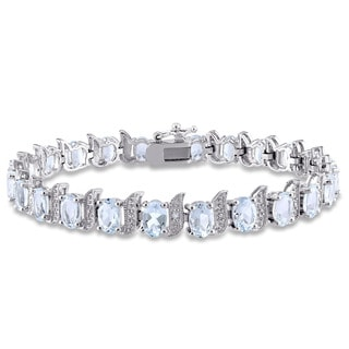 Miadora Sterling Silver Aquamarine and Diamond Accent Tennis Bracelet
