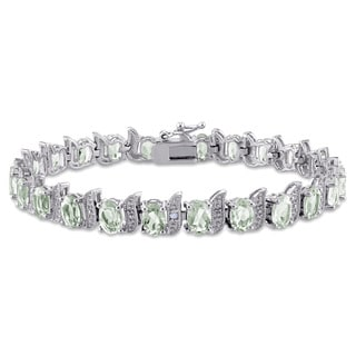 Miadora Sterling Silver Green Amethyst and Diamond Accent Tennis Bracelet