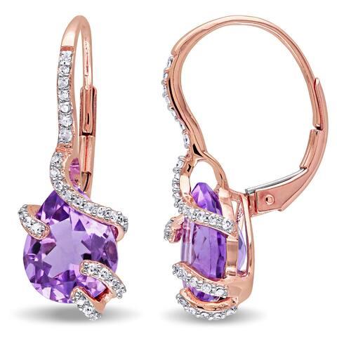 Miadora 10k Rose Gold Amethyst and 1/5ct TDW Diamond Bypass Dangle Earrings (G-H, I2-I3) - Purple