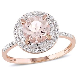 Miadora 10k Rose Gold Morganite and 1/10ct TDW Diamond Double Halo Ring (G-H, I1-I2)