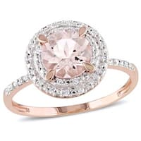 Miadora 10k Rose Gold Morganite and 1/10ct TDW Diamond Double Halo Ring