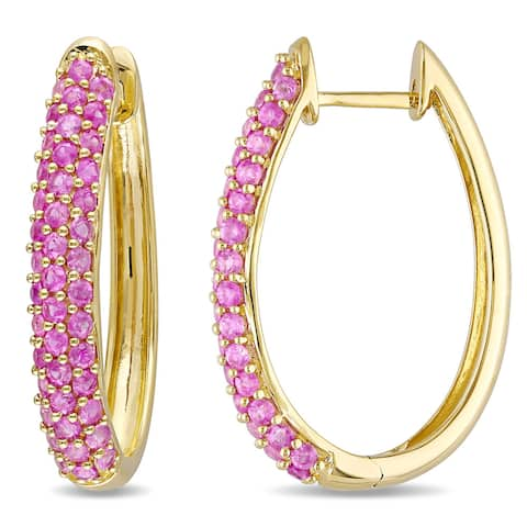 Miadora 10k Yellow Gold Pink Sapphire Hoop Earrings