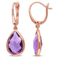 Miadora 14k Rose Gold Amethyst Teardrop Dangle Earrings