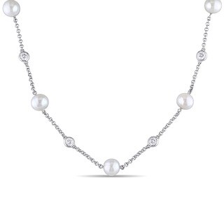 Miadora Sterling Silver Cultured Freshwater White Pearl and Created White Sapphire Station Necklace (8-8.5 mm)