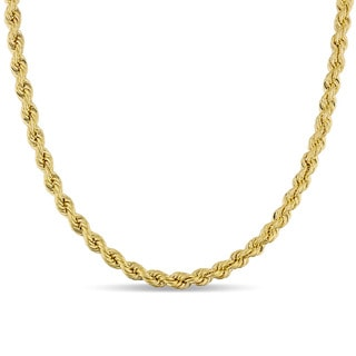 Miadora Signature Collection 10k Yellow Gold Mens Hollow Rope Necklace