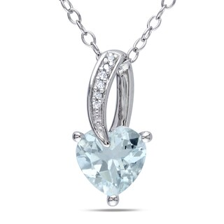 Miadora Sterling Silver Aquamarine and Diamond Accent Heart Necklace