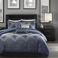 Madison Park Crawford Navy Jacquard 7-piece Comforter Set
