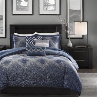Madison Park Crawford Navy Jacquard 7-piece Comforter Set