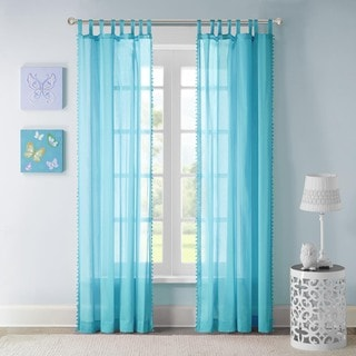 Mi Zone Sophie Blue Solid Embellished Cotton Window Curtain Panel