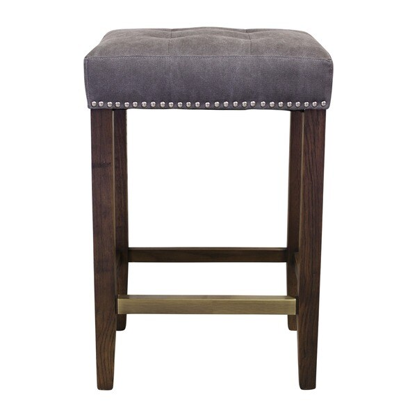 Design Tree Home Ash Canvas And Wood Studded Counter Stool