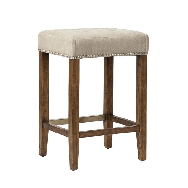 Shop Handmade Ash Canvas And Wood Studded Counter Stool