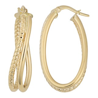 Fremada 14k Yellow Gold High Polish and Diamond-cut Finish Double Oval Hoop Earrings