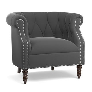 Handy Living Chesterfield Grey Velvet Arm Chair