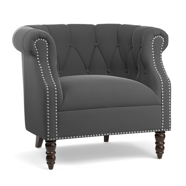 Handy Living Chesterfield Grey Velvet Arm Chair Free Shipping Today Overstock Com 17626846