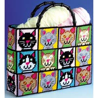 Cat Tote Bag Plastic Canvas Kit12inX13inX9in 7 Count