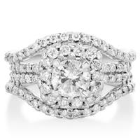 14k White Gold 2ct. Diamond Halo Engagement Ring with 1ct. Clarity Enhanced Center Diamond