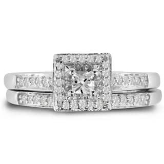 Sterling Silver 1/4 TDW Center Pave Diamond Bridal Set (J-K, I1-I2) - White|https://ak1.ostkcdn.com/images/products/10546981/P17626851.jpg?impolicy=medium