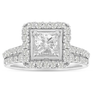 14K White Gold 1 1/2 Carat TDW Micro Pave Diamond Bridal Set, Princess Center (J-K, I1-I2)