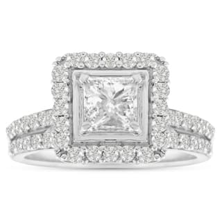 14K White Gold 1 1/2 Carat TDW Micro Pave Diamond Bridal Set, Princess Center (J-K, I1-I2)|https://ak1.ostkcdn.com/images/products/10546983/P17626852.jpg?impolicy=medium