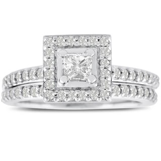14k White Gold 1ct TDW Micropave Princess-cut Diamond Bridal Engagement Set (J-K, I1-I2)