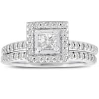 14k White Gold 1ct TDW Micropave Princess-cut Diamond Bridal Engagement Set (J-K, I1-I2)