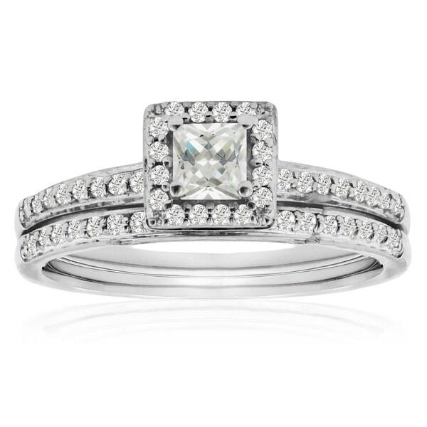 Women's 14K White Gold 1/2 Carat TDW Micro Pave Diamond Bridal Set, Princess Center (J-K, I1-I2)
