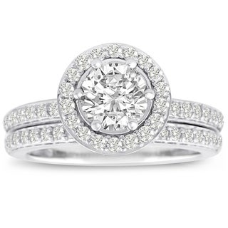 14k White Gold 1 1/2ct TDW Micro Pave Diamond Bridal Set (J-K, I1-I2)
