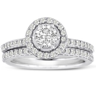 Women's 14K White Gold 1 Carat TDW Micro Pave Diamond Bridal Set (J-K, I1-I2)