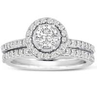 Women's 14K White Gold 1 Carat TDW Micro Pave Diamond Bridal Set (J-K, I1-I2)