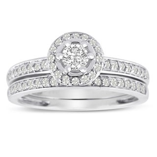 14K White Gold 1/2 Carat TDW Micro Pave Diamond Bridal Set (J-K, I1-I2)