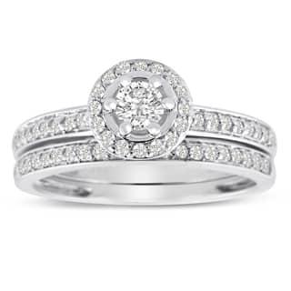 14K White Gold 1/2 Carat TDW Micro Pave Diamond Bridal Set (J-K, I1-I2)|https://ak1.ostkcdn.com/images/products/10546992/P17626857.jpg?impolicy=medium
