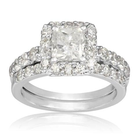 14k White Gold 2 1/4ct Radiant and Round Diamond Bridal Set with 1ct Clarity Enhanced Center Diamond