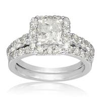 14k White Gold 2 1/4ct Radiant and Round Diamond Bridal Set with 1ct Clarity Enhanced Center Diamond