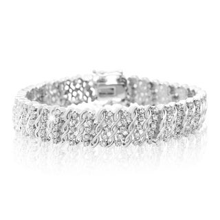 Platinum Overlay 1 Carat TDW Five Row Diamond Bracelet, 7 Inches (J-K, I2-I3)
