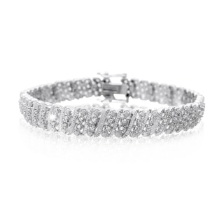 Platinum Overlay 1 Carat TDW Four Row Diamond Bracelet, 7 Inches (J-K, I2-I3)