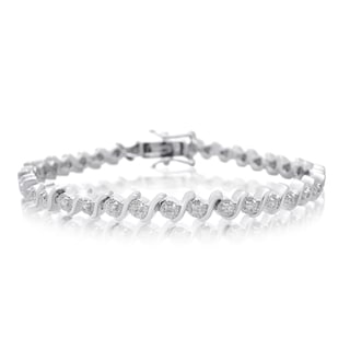 Platinum Overlay 0.40 Carat TDW Diamond S-Type Tennis Bracelet, 7 Inches (J-K, I2-I3)