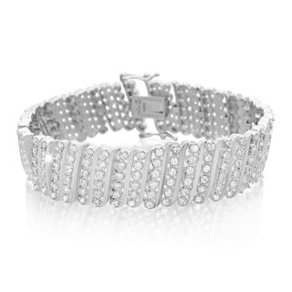 Platinum Overlay 2 Carat TDW Six Row Diamond Bracelet, 7 Inches (J-K, I2-I3)