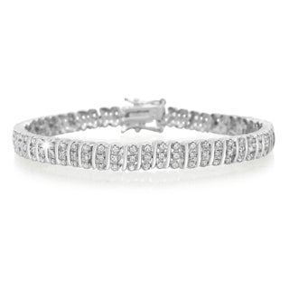 Platinum Overlay 1 Carat TDW Three Row Diamond Bracelet, 7 Inches (J-K, I2-I3)