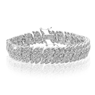 Platinum Over Brass 2 Carat TDW Diamond Tennis Petal Bracelet, 7 Inches (J-K, I2-I3)