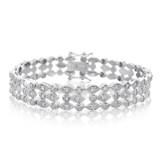 Platinum Overlay 1.20 Carat TDW Three Row Diamond Bracelet, 7 Inches (J-K, I2-I3)