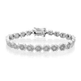 Platinum Overlay Diamond Accent X Bracelet, 7 Inches (J-K, I2-I3)