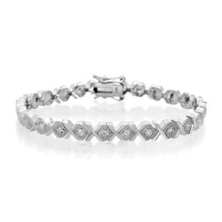 Platinum Over Brass Diamond Accent X Bracelet, 7 Inches (J-K, I2-I3)