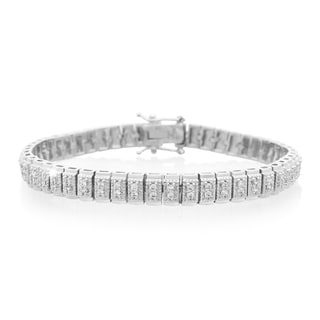 Platinum Over Brass 1 Carat TDW Double Row Diamond Tennis Bracelet, 7 Inches (J-K, I2-I3)