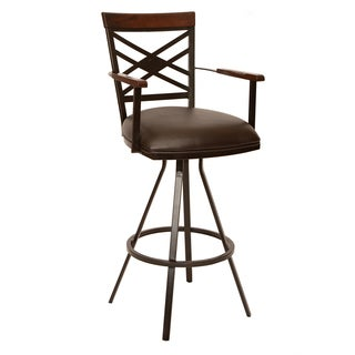 "Zoe 30"" Transitional Arm Barstool In Coffee Leatherette"