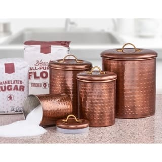 4 Piece Hammered Antique Copper Canister Set