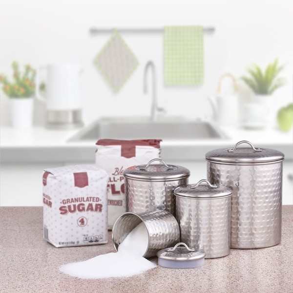 Old Dutch Hammered Brushed Nickel 4-piece Canister Set. Opens flyout.