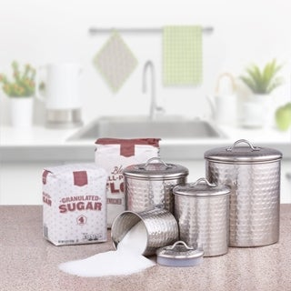 Old Dutch Hammered Brushed Nickel 4 Piece Canister Set