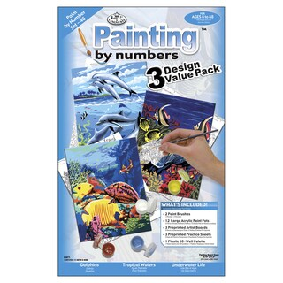 Junior Small Paint By Number Kit 8.75inX11.75in 3/PkgSea Life