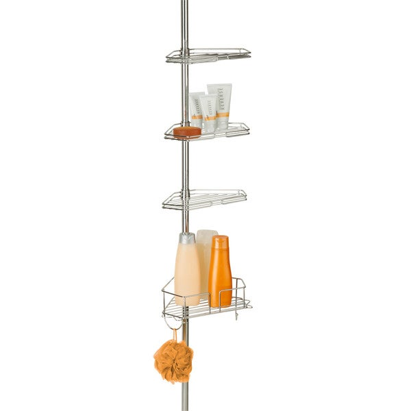 Honey-Can-Do Chrome Corner Tension Rod Shower Caddy